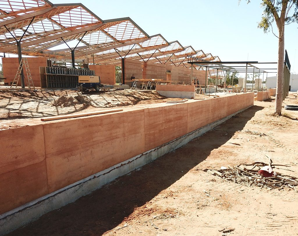 rammed earth retaining wall