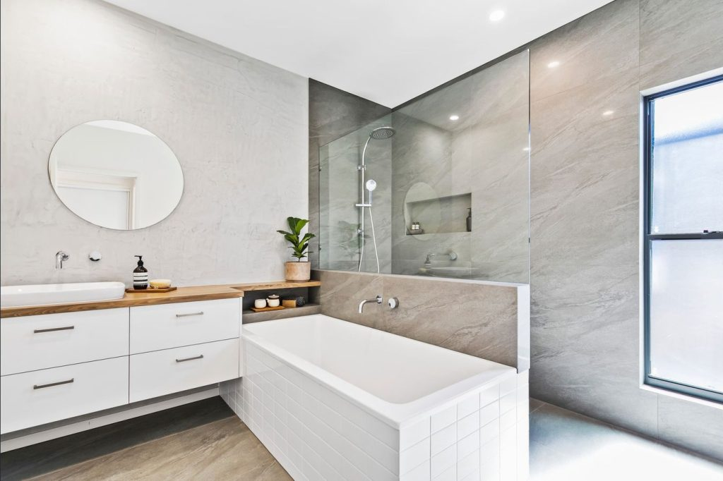 Bathroom, white and grey