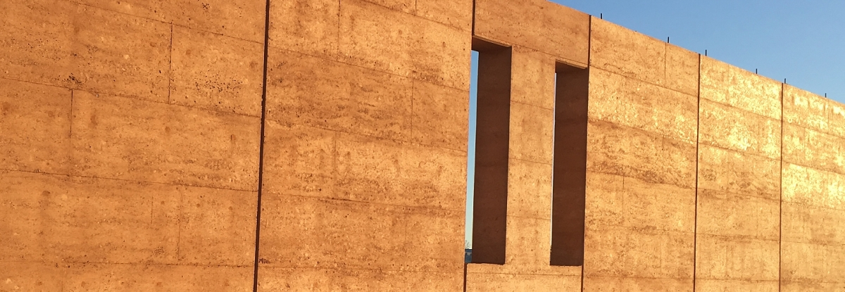 Red rammed earth walls