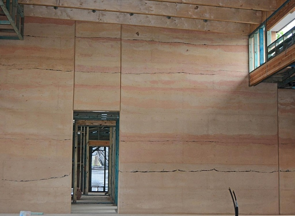 Colourful rammed earth feature walls