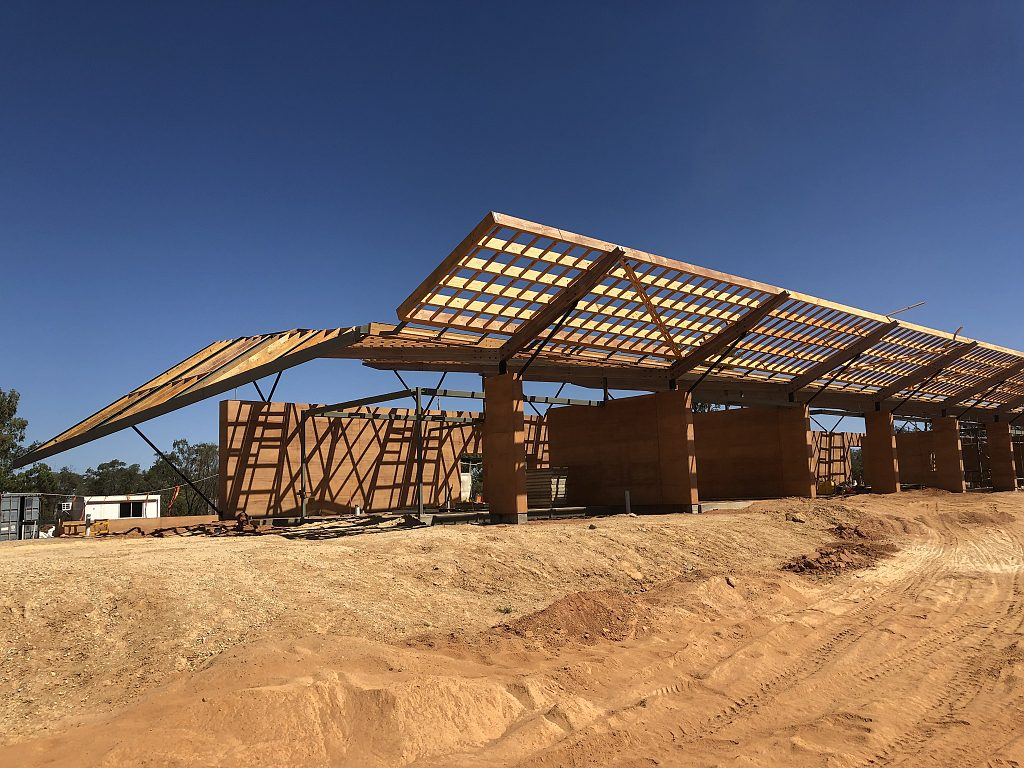 Wing roofline, rammed earth, outback Queensland
