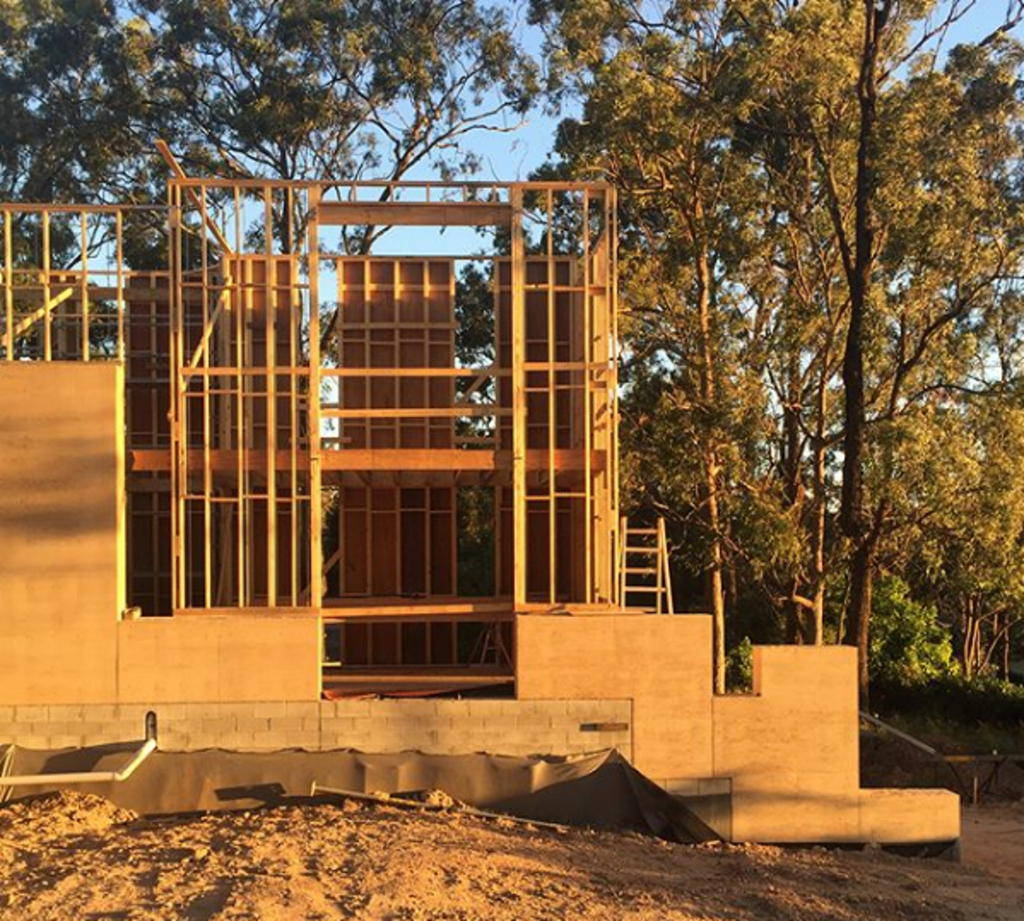 framing in rammed earth