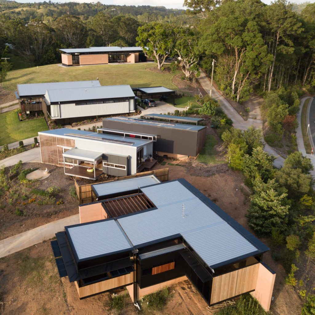 Rammed earth in 3 of 4 homes