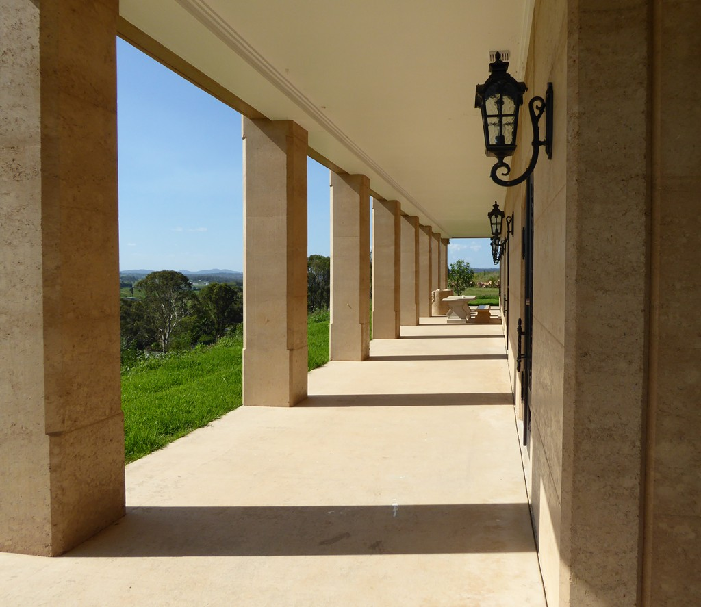 Rammed earth columns and walls