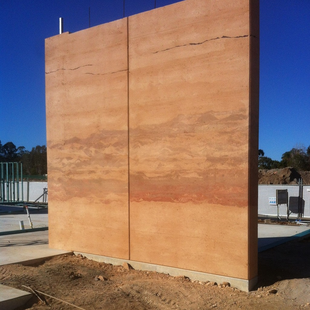 Feature wall, rammed earth