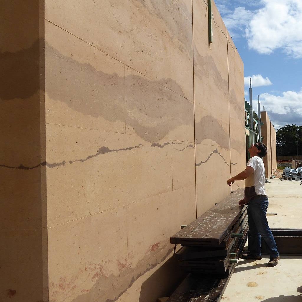 Rammed earth feature wall