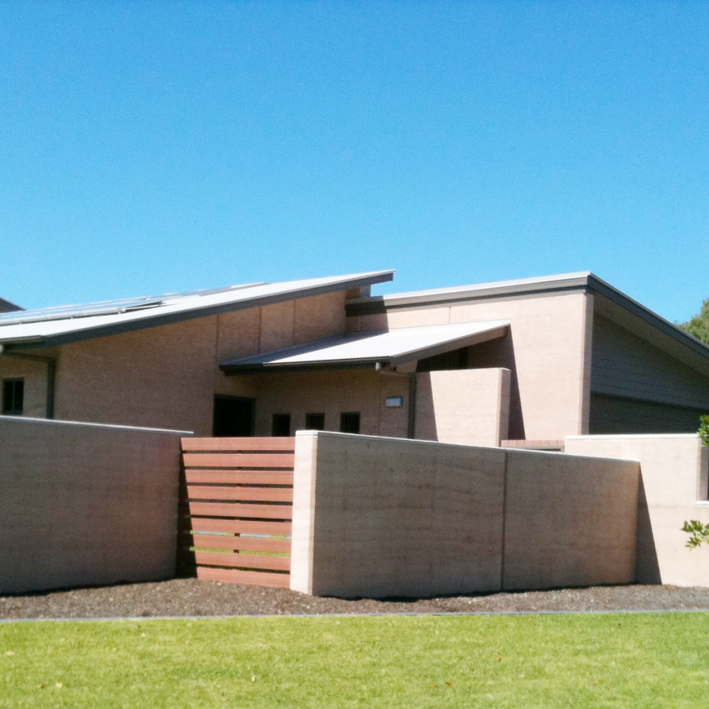 Rammed earth house, Pelican Waters, Queensland