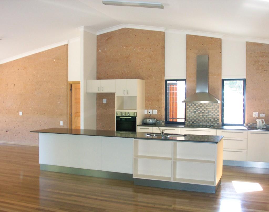 Kitchen rammed earth walls