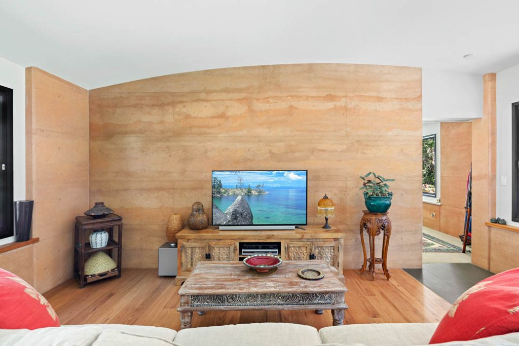 colourful feature rammed earth wall, sustainable