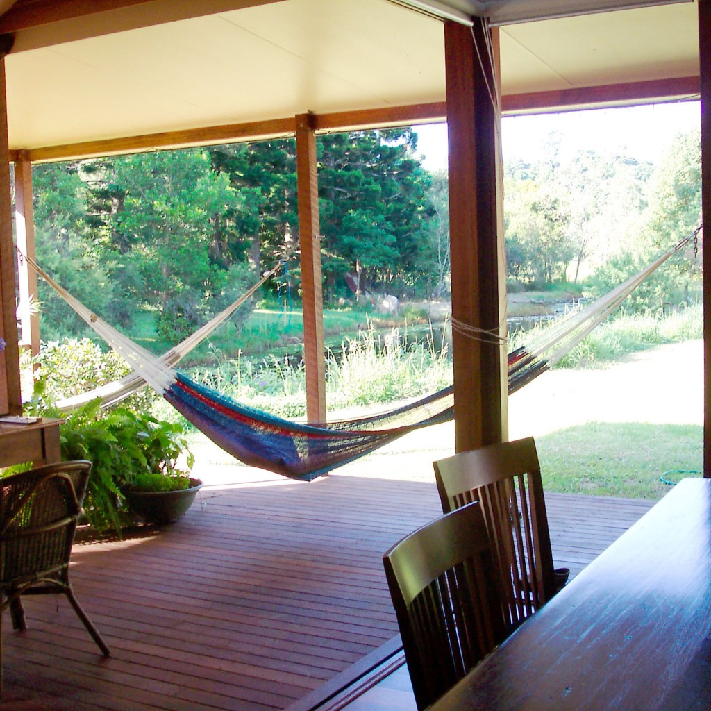 Deck and hammocks, rammed earth home, Maleny