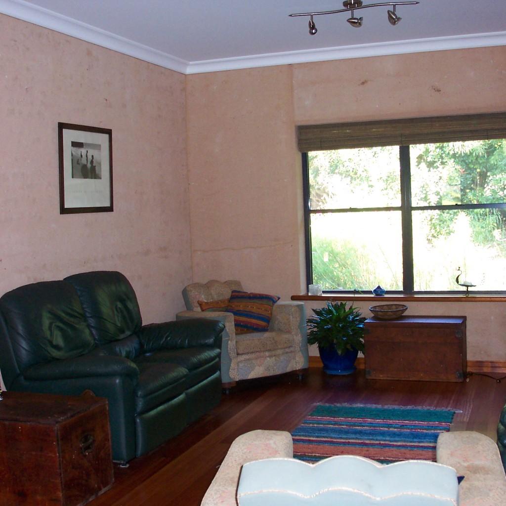 Rammed earth living room