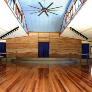 Noosa school hall, multi coloured rammed earth, Sunshine Coast