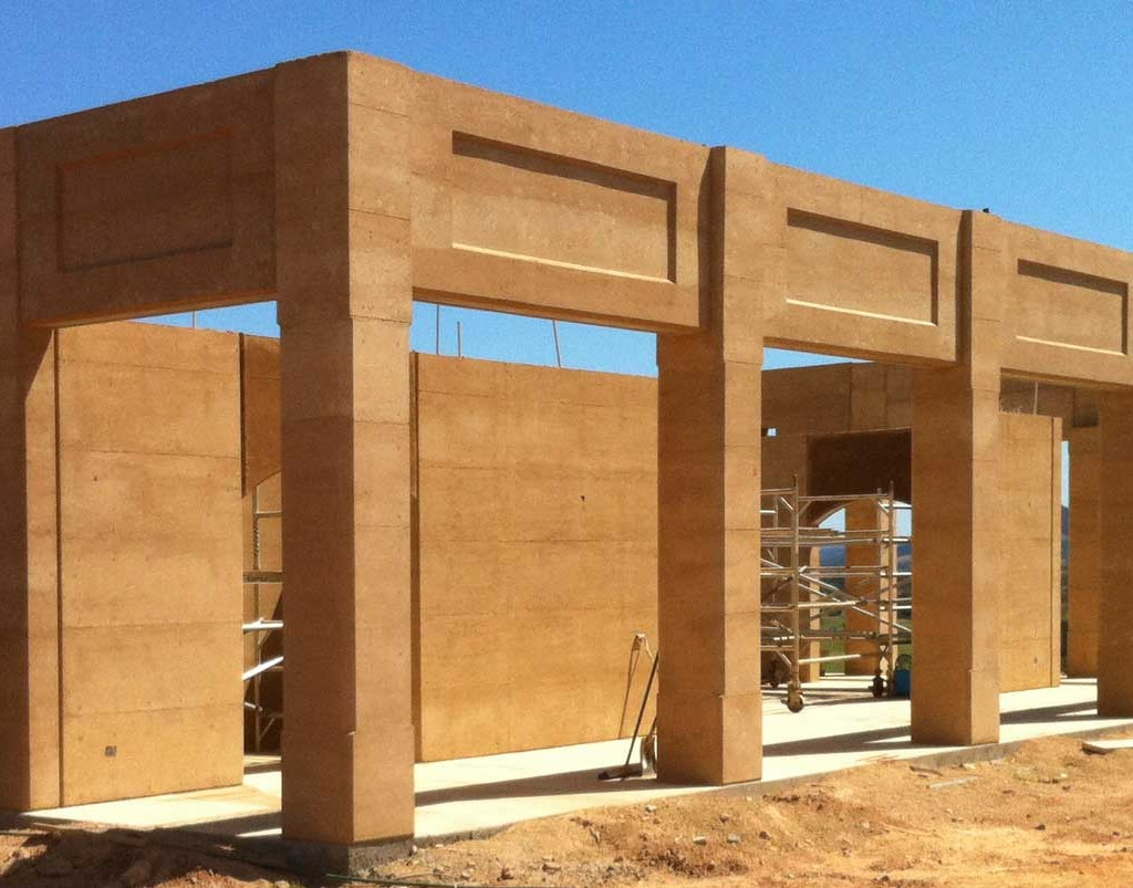 Rammed earth columns, Gympie
