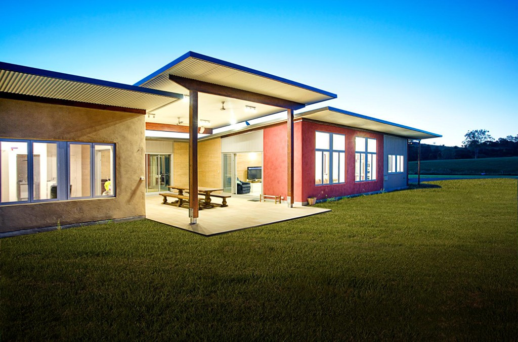 Rammed earth and strawbale walls, Queensland. 9 star energy rated home.