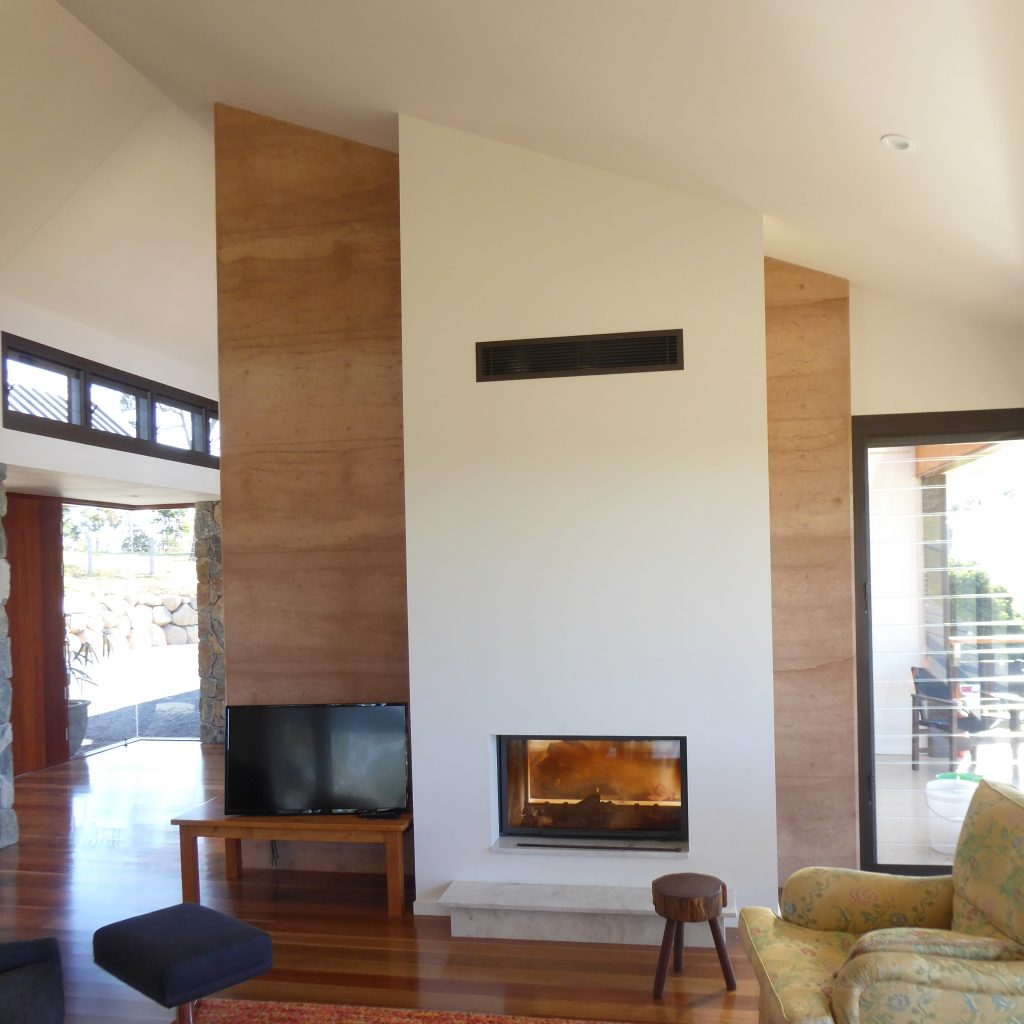 Rammed earth in living room
