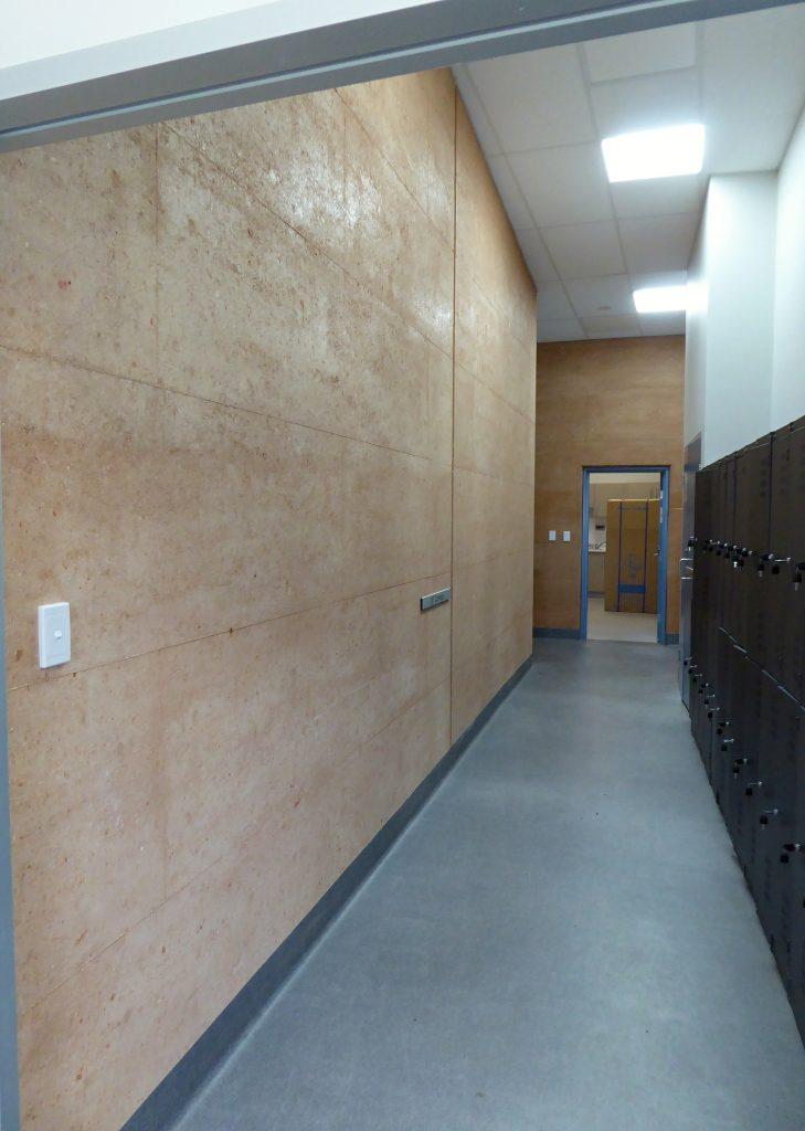 Rammed earth hallway walls