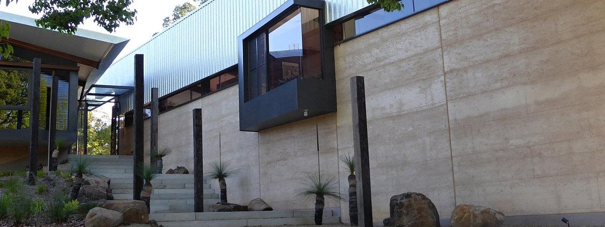 entry steps rammed earth home