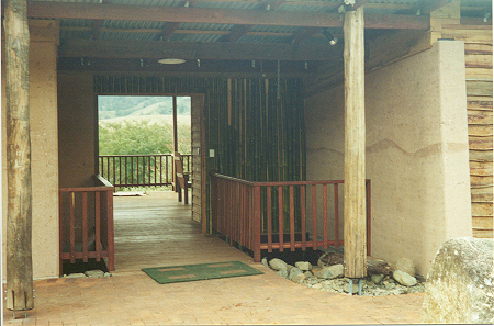 Entry to rammed earth EcoCentre at Crystal Waters, Queensland