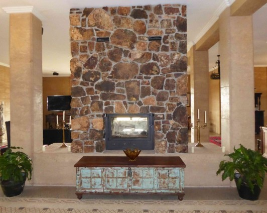 fireplace rammed earth columns w