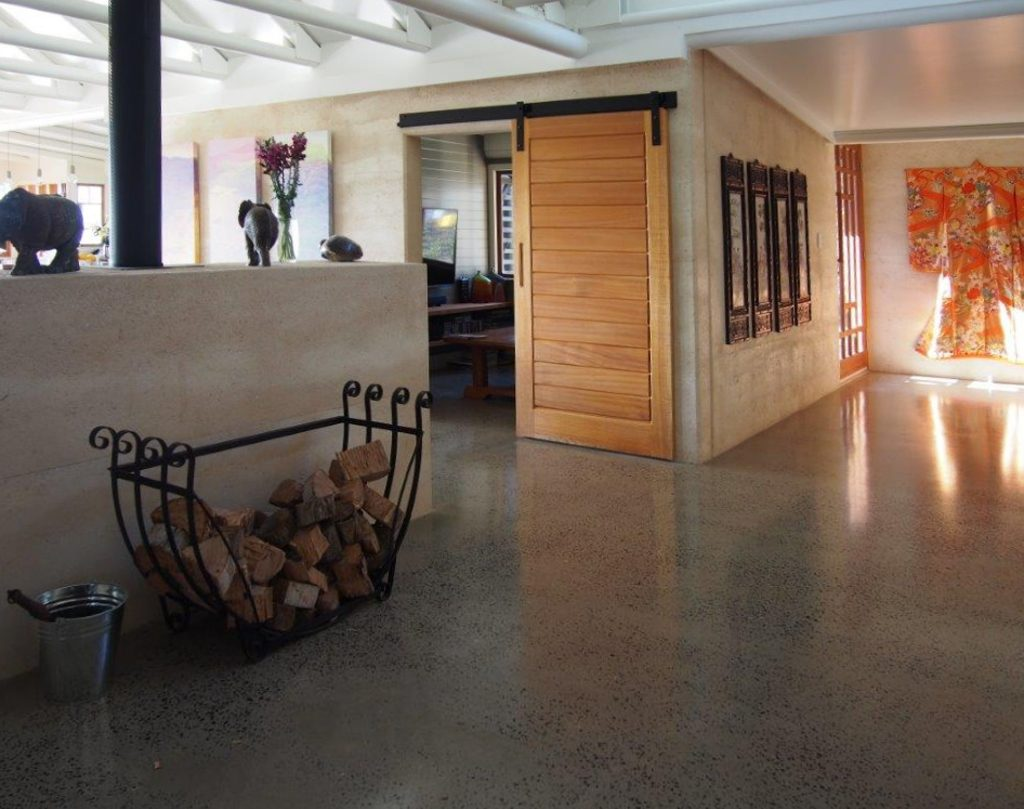 hallway rammed earth, polished concrete
