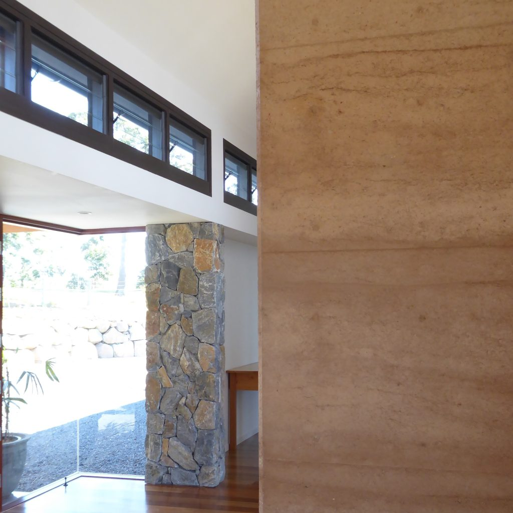 rammed earth and stone walls