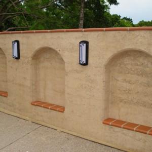 Rammed earth alcoves, garden wall. Sunshine coast, Queensland.