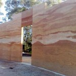 Multi coloured rammed earth wall, no oxides. For the Noosa Pengari School Hall.