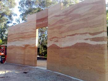 Lovely Multi Coloured Rammed Earth Wall, No Oxides. For The Noosa Pengari School  Hall.