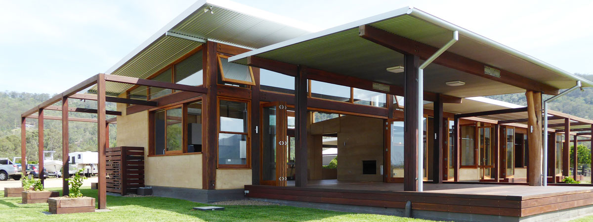 Rammed earth and timber ranch style house, Queensland