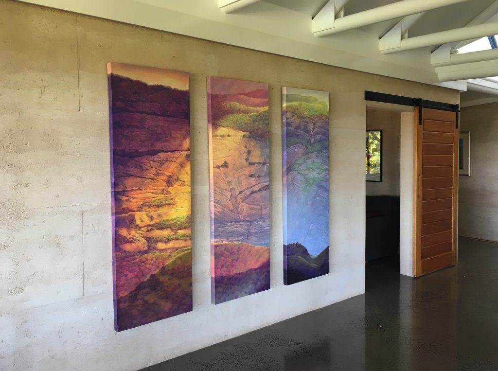 triptych on rammed earth